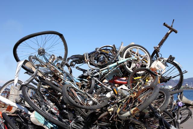 自転車の山